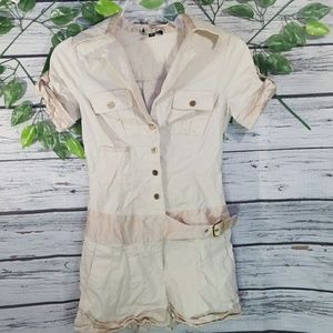 Bebe snap up collared safari collared romper sz XS